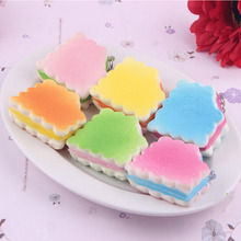Random 1PC Dollhouse Miniature Food Candy Color Soft Biscuits Squishy Cute Cell Phone Charm Key Straps Decorative Craft