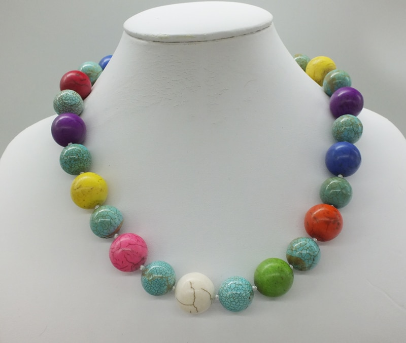 Free Shipping, 15/18mm Mixed Color Classic Turkish Stone Necklace, 50CM