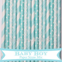 100pcs Mix Colors Baby Boy Paper Straws,Light Blue Striped,Swiss Dot,Star,Damask Drinking Straws,Baby Shower Birthday Party Bulk