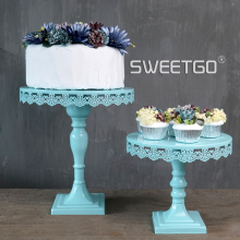 Blue Tall Cake Stands Wedding Cake Decoration Baking Home Supplies Coffe Shop Cake Display Holder Birthday Party Cake Plates