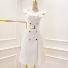New Fashion Runway 2017 Designer Dress Women's Notched Collar Off The Shoulder Double Breasted Buttons Belt Dress(China)