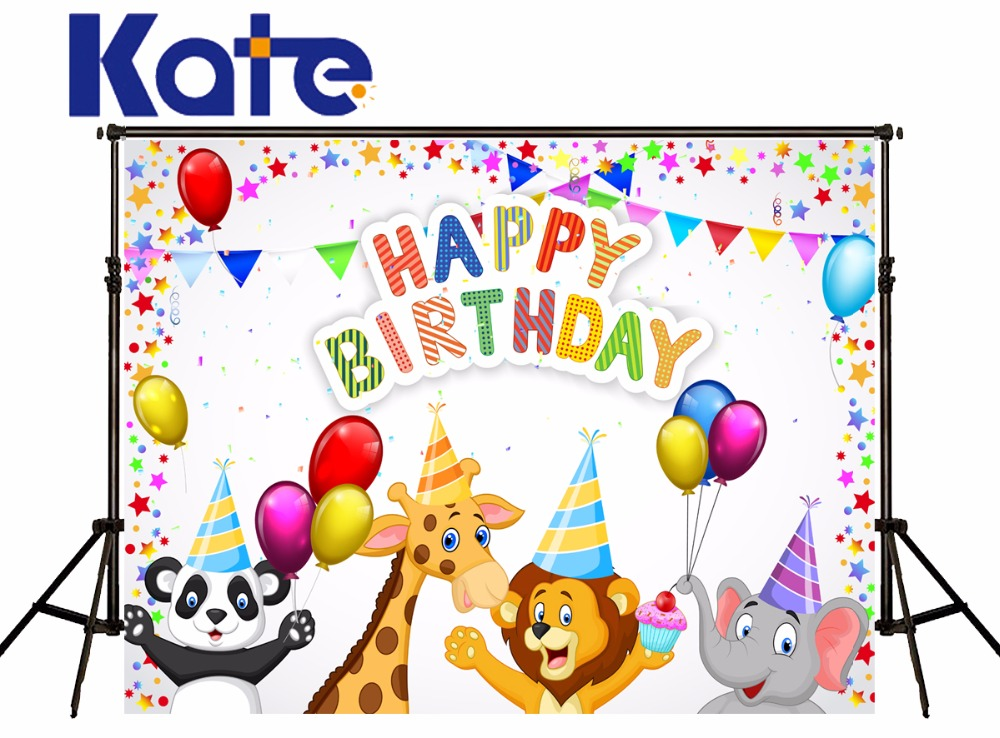 Kate Happy Birthday Backgrounds Photography Colour Star Animal Lino Elephant Photography Backdrop For Photo Studio<br>