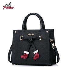 JUST STAR Women PU Leather Handbags Ladies Christmas Socks Tote Purse Girl's Crossbody Bags Female Flap Messenger Bags JZ4223