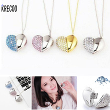 Fashion Gifts USB Flash Drive 4G/8G/16G/64GB Metal & Crystal Pen Drive Heart Jewelry Accessories Memory Stick (Including Chain)(China)