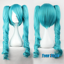 Vocaloid Cosplay Hatsune Miku Wig Spiral Curly Hairstyles Long Hair Wigs Green Clips on Two Ponytails Peruca Cosplay Perruque