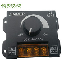 New LED Dimmer 12V 24V 30A Max Easy Dimmer For Led Lamps Switch metal Shell Knob control Electric Shock cover Strip regulator(China)