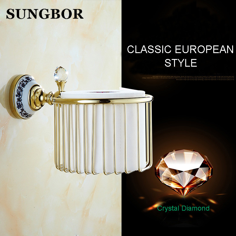 European paper towel basket Golden toilet paper basket The gold-plated copper tissue boxes porcelain bathroom hand carton paper<br>