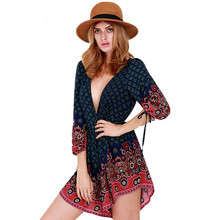 2017 Tribe Vintage Printed Female's Elegant Jumpsuit Backless Deep V-Neck Sexy Wife Combination Summer Playsuit Women's Rompers(China)