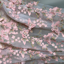 Exquisite 3D Butterfly Lace Fabric In Pink And Gold Thread Embroidery Bridal Gown Wedding Fabric Net Fabric For Dress By Yard(China)