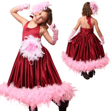 Fashion pageant dress designer kids wear burgundy flower girls dresses for party and wedding