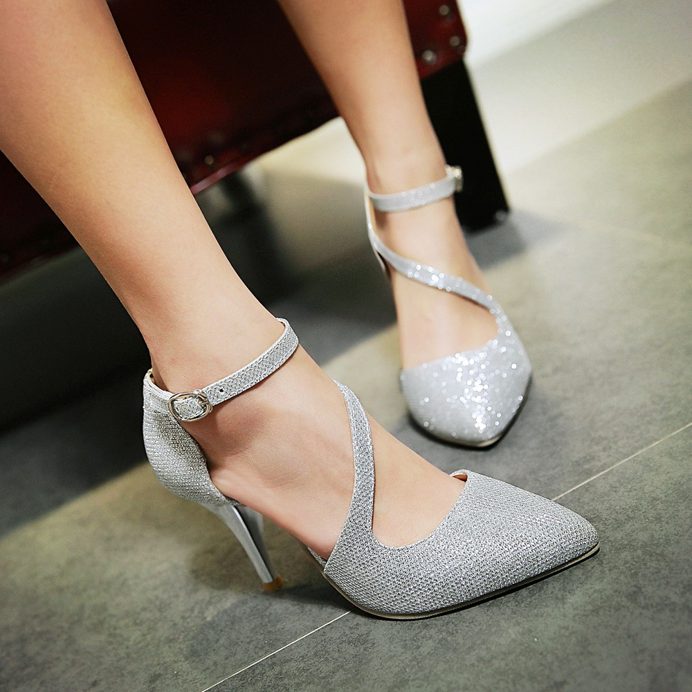 gold silver Ladies Shoes Pointed Toe Thin High Heel Woman Pumps Summer Women Wedding Shoes big Size 34-43<br><br>Aliexpress