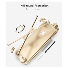 OATSBASF for iPhone 6s / 6 Bumper X Shaped Metal Laser Carving Frame Casing with Ring Holder