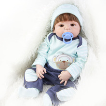 Magnetic Mouth 23'' Reborn Baby Dolls Realistic Full Silicone Vinyl Babies Doll can Suck Pacifier So Truly Boy Doll Model Toy