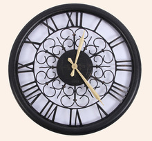 home decor 3D decorative wall clock quartz clock living room wall clock 24-inch large vintage wrought iron wall clock