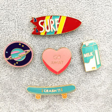 Timlee X194 Free shipping Cartoon Cute Heart Milk Skateboard Planet Surfboard Metal Brooch Pins,Fashion Jewelry Wholesale