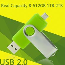 Hot-Selling 2.0 Usb Flash Memory Card Stick Mobile Phone Computer Dual OTG Usb 2TB 1TB Flash Drive 16GB 32GB 64GB Pendrive 512GB