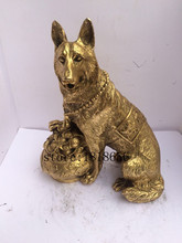 antique antiques chinese brass carre Wolf statue