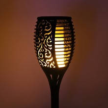 GIDEALED Solar Flame Flickering Lawn LED lamp Outdoor IP65 Smart Tiki Torch Light With solar panel(China)
