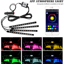 4PCS Car Blutooth APP Intelligent Control 12LED Decorative LED Atmosphere Neon Lamp Light RGB Car Footwell Light For Android IOS