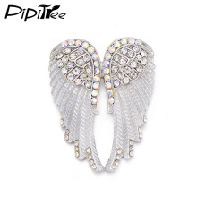 Pipitree Fashion Vintage Angel Wings Brooch Pins Women Men's Jewelry Christmas Gift Antique Gold Color Rhinestone Brooches(China)