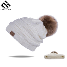 New Pom Poms Women Winter Hats Casual Beanies Fashion Crochet Knitting Hat Brand Thick Female Cap Hat bone feminino Wholesale(China)