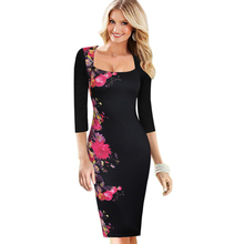 Womens Dresses Elegant Flower Floral Print Slim Tunic O-Neck Casual Vestidos Party Evening Pencil Sheath Bodycon Dress 283(China)
