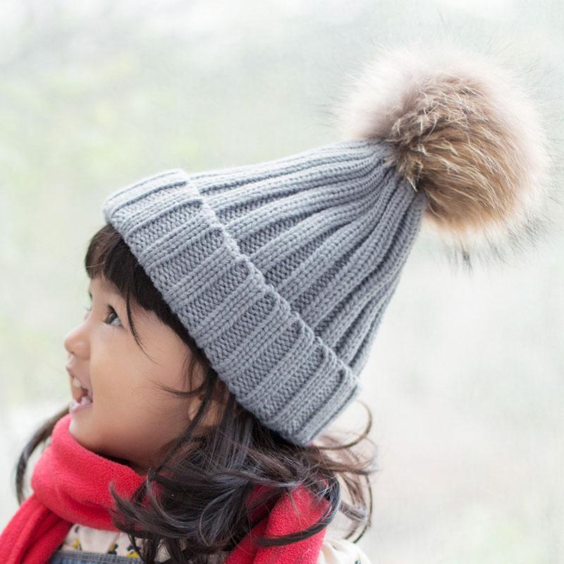kid hat with fur pompom 6