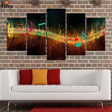 Unframed Painting on Canvas Abstract Music Notation Pictures Home Decor 5 Panel Wall Art Paintings Unframed Wholesale(China)