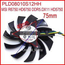 Free Shipping POWER LOGIC PLD08010S12HH 12V 0.35A 75mm 4Pin For MSI R6750 HD6750 DDR5.DX11 HD5750 Graphics Card Cooling Fan