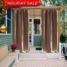 Outdoor Curtain Panel for Patio - NICETOWN Tab Top Thermal Insulated Blackout Outdoor Curtain / Drape for Patio / Front Porch(China)