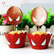 Wholesale 120pcs/lot 60pcs Wrappers + 60pcs Toppers for Spiderman Theme Big Party  Cupcake Decoration Angry Spiderman