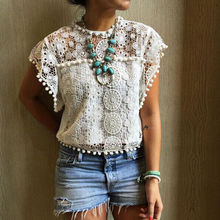 White Blouse Lace Chiffon Sleeveless Summer Women Tops 2016 New Fashion Korean Hollow Out Ladies Shirt Office Female Clothing(China)