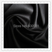 wholesale 2 meter full dull elastic satin fabric imitation silk material for one piece dress heavy black satin spandex fabric