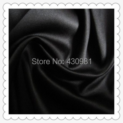 wholesale 2 meter full dull elastic satin fabric imitation silk material for one piece dress heavy black satin spandex fabric(China)