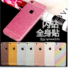 Bling Glitter Shiny Crystal Diamond Full Body Front and Back Wrap Decal Film Sticker Skin For Apple iPhone 5C