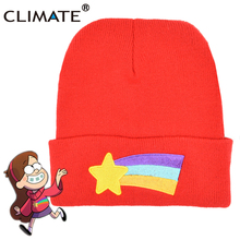 CLIMATE 2017 Women Gravity Dipper Mabel Pines Winter Warm Red Knit Beanie Skullies Shooting Star Anmation Nice Red Acrylic Hat
