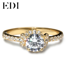 EDI Royal Vintage Halo Design  10K Yellow Solid Gold Ring Female Rings   Round 1CT Simulated Diamond Engagement Wedding Rings