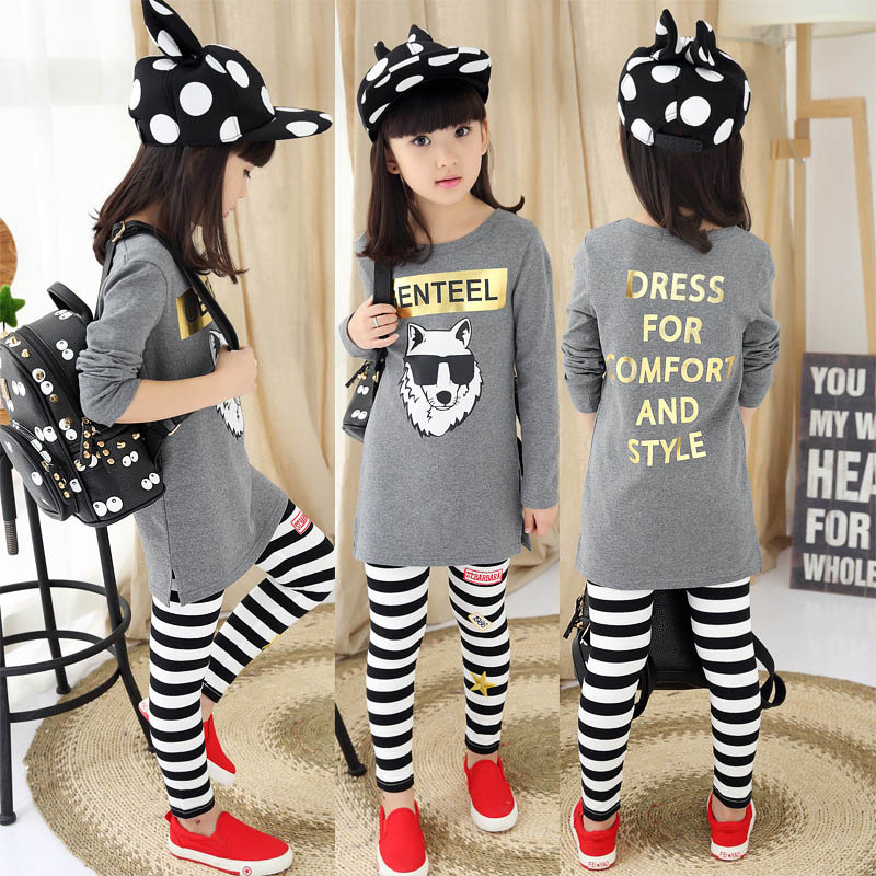 Girl T-Shirt+Striped Legging 2 Pcs Letter Clothing Sets for Girls Tracksuits Cotton Casual Suit Spring Kids Clothes Set<br><br>Aliexpress