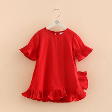 2017 New Arrival Children Clothing Fashion Kids Girls Red Dress Summer Flare Sleeve Ruffles Dress 3-4-8-9 Age Baby Dress V4073