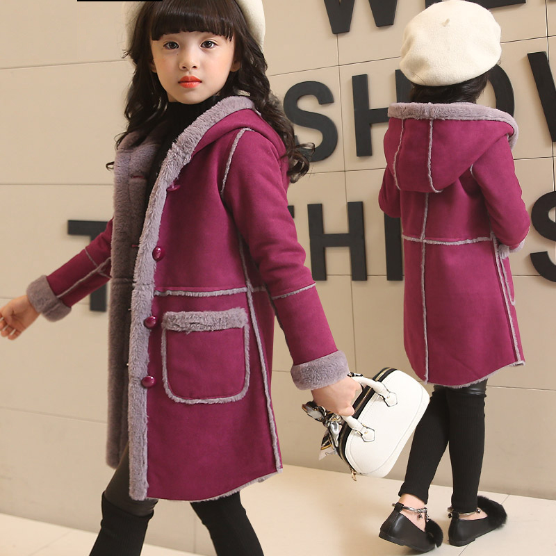 High Qulity 2017 Winter Girls Suede Coat Girls Deerskin Coat Kids Plus velvet Thickening Hooded Overcoat Child Wadded Jacket<br>