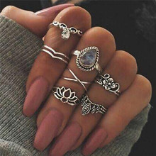 ORP Europe and the United States ring set hot selling multi - element combination of Lotus gem lady 7 pieces set finger rings