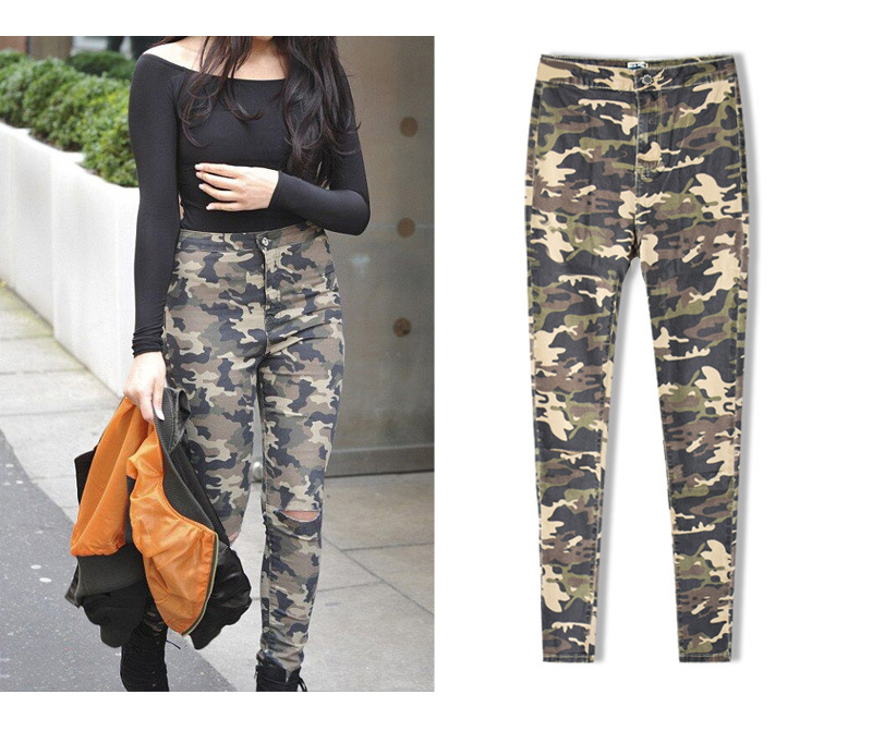 2017 New Brand Women Fitness Cloth Camouflage High Waist Elastic Stretch Holes Jeans Pencil Pants Street Style Denim Trousers (8)