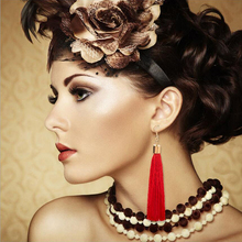 Female Red Tassel Drop Earrings Gold color Cotton Fringes Long Ethnic Dangle Earrings For Women Fashion Jewelry Wholesale C97(China)