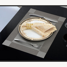 2pcs Christmas Table Mats Placemats PVC handmade-woven 45cm Coaster silver brown Pads dinner set  jogo americano jantar