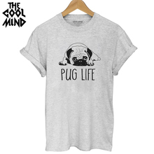THE COOLMIND Top quality Cotton cut pug print women T shirt casual o-neck women T-shirt 2017 new design woman tee shirts