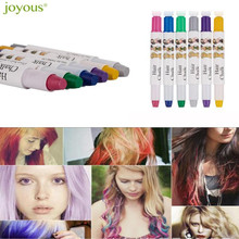 2017 New Arrival Joyous Metal Coloring Crayons One-time Hair Dye Pen Hairdressing  6 Color Set for Women free shipping wholesale