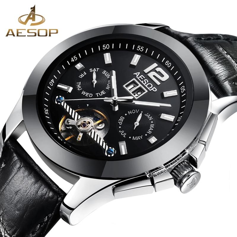 AESOP Watch Men Ceramic Automatic Mechanical Sapphire Crystal Leather Band Wrist Wristwatch Male Clock Relogio Masculino Box 27<br>