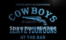 LB783- Cowboys Leave Guns Bar Beer LED Neon Light Sign home decor shop crafts(China)