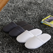 Luxury non disposable hotel home house indoor floor carpet shoes Waffle 100% cotton towel slippers super soft women man footwear