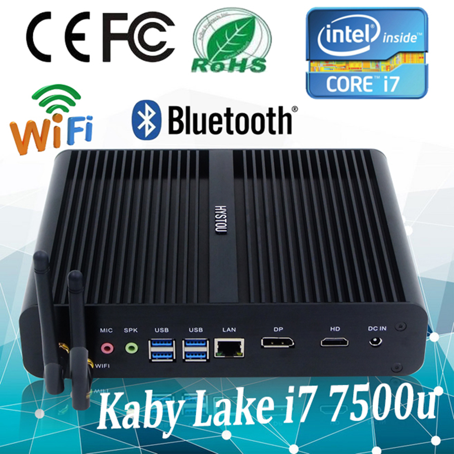 Hystou Desktop Computers Intel 7th Gen Kaby Lake i7 7500u Powerful Fanless Mini PC Mini Computer Support 3D Games Linux Mini PC(China)